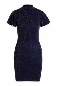 Womens Glitter High Neck Angel Sleeve Mini Dress - navy - 16, Navy