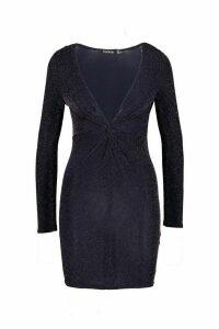 Womens Knot Front Glitter Long Sleeve Mini Dress - navy - 14, Navy