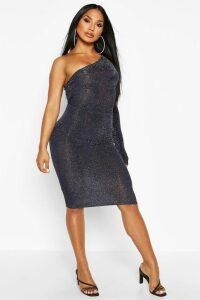 Womens One Shoulder Glitter Midi Dress - navy - 16, Navy