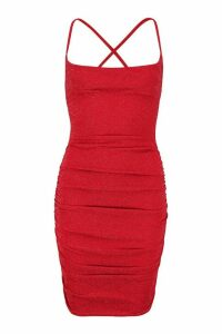 Womens Metallic Cowl Neck Ruched Mini Dress - red - 14, Red