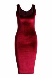 Womens Velvet Longline Neck Midi Dress - red - 16, Red