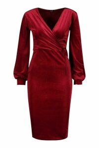 Womens Velvet Long Sleeve Bodycon Midi Dress - red - 12, Red