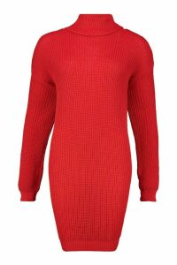 Womens Oversized Roll Neck Dress - red - M, Red