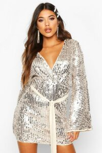 Womens Stripe Sequin Kimono Belted Bodycon Dress - grey - 16, Grey