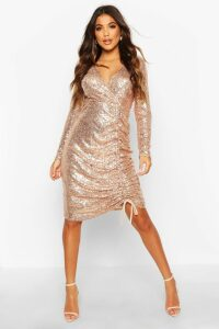Womens Sequin Plunge Neck Ruched Midi Dress - pink - 10, Pink