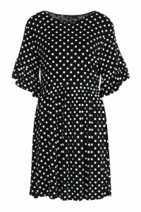 Womens Polka Dot Ruffle Sleeve Smock Dress - black - 16, Black