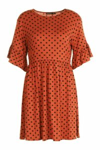 Womens Polka Dot Ruffle Sleeve Smock Dress - orange - 16, Orange