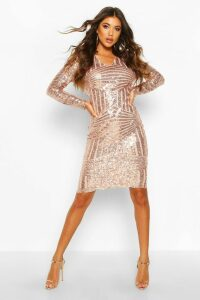 Womens Sequin & Mesh Plunge Neck Midi Dress - pink - 16, Pink