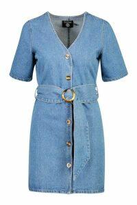 Womens Mock Horn Button Belted Denim Dress - blue - 14, Blue