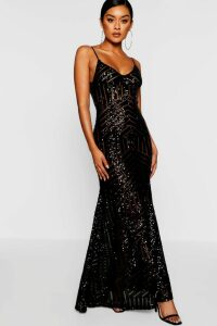 Womens Sequin & Mesh Strappy Maxi Dress - black - 16, Black