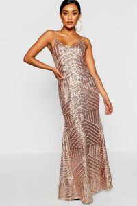 Womens Sequin & Mesh Strappy Maxi Dress - pink - 6, Pink