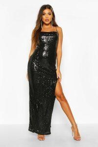 Womens Sequin Square Neck Side Split Maxi Dress - black - 14, Black