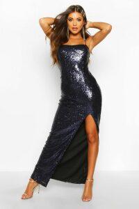 Womens Sequin Square Neck Side Split Maxi Dress - navy - 16, Navy