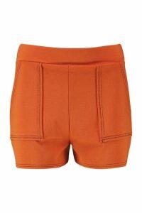 Womens Topstitch Paper Bag Pocket Shorts - orange - 10, Orange