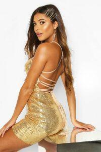 Womens Sequin Strappy Back Bodycon Dress - metallics - 6, Metallics