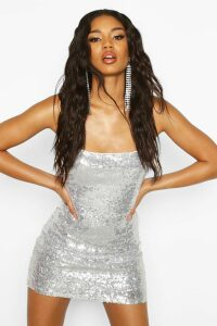 Womens Sequin Strappy Back Bodycon Dress - grey - 14, Grey