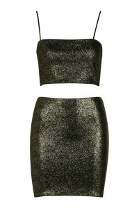 Womens Sparkle Crop Top And Mini Skirt - metallics - 14, Metallics