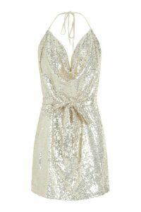 Womens Sequin Cowl Neck Belted Mini Dress - metallics - 16, Metallics
