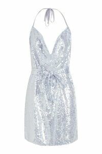 Womens Sequin Cowl Neck Belted Mini Dress - grey - 16, Grey
