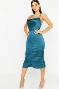 Womens Satin Cowl Neck Lace Up Fish Tail Midi Dress - green - 16, Green