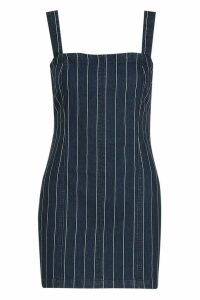 Womens Zip Back Stripe Bodycon Dress - blue - 14, Blue