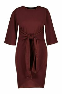 Womens Plus Kimono Sleeve Tie Waist Wrap Dress - brown - 24, Brown