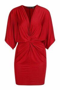 Womens Petite Disco Slinky Twist Front Mini Dress - red - 14, Red