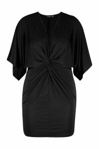 Womens Plus Disco Slinky Twist Front Dress - black - 20, Black