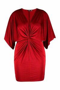Womens Plus Disco Slinky Twist Front Dress - red - 20, Red