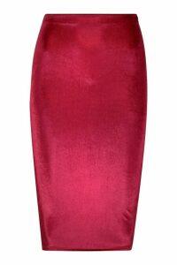 Womens Petite Velvet Midi Skirt - red - 14, Red