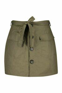 Womens Plus Tie Horn Button Military Skirt - green - 24, Green