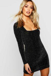 Womens Petite Glitter Square Neck Bodycon Dress - black - 14, Black