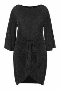 Womens Plus Shimmer Kimono Sleeve Tie Waist Wrap Dress - black - 18, Black