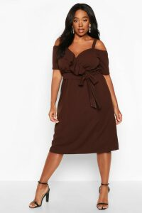 Womens Plus Plunge Ruffle Belt Midi Dress - brown - 18, Brown