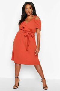 Womens Plus Plunge Ruffle Belt Midi Dress - orange - 18, Orange