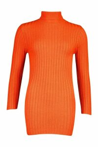 Womens Petite Rib Knit Roll Neck Jumper Dress - orange - M, Orange