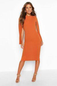 Womens Petite Cape Sleeve Midi Dress - orange - 10, Orange