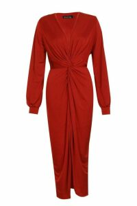 Womens Tall Disco Slinky Twist Front Wrap Dress - red - 6, Red