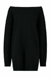 Womens Tall Slash Neck Jumper Dress - black - M/L, Black