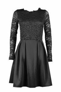 Womens Tall Lace Panel Skater Dress - black - 16, Black