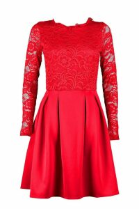 Womens Tall Lace Panel Skater Dress - red - 14, Red