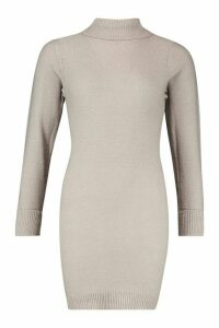 Womens Petite Knitted Roll Neck Jumper Dress - grey - M, Grey