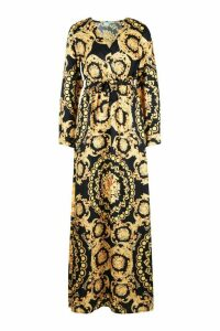 Womens Chain Print Wrap Front Maxi Dress - black - 16, Black