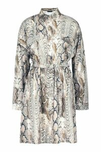 Womens Woven Snake Button Through Shirt Dress - beige - 12, Beige