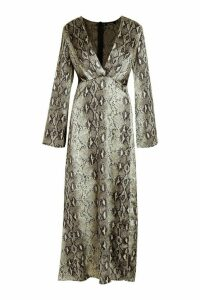 Womens Snake Print Revere Collar Maxi Shirt Dress - green - 8, Green