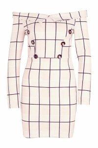 Womens Off The Shoulder Tonal Check Button Dress - beige - 8, Beige