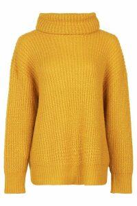 Womens Oversized Roll Neck Rib Knit Jumper - yellow - M, Yellow