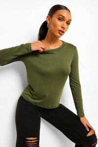 Womens Basic Long Sleeve Crew Neck T-Shirt - green - 8, Green