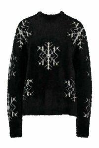 Womens Premium Embellished Feather Knit Jumper - black - M, Black