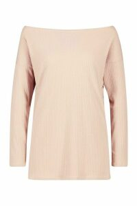 Womens Off The Shoulder Oversized Rib Knit Jumper - beige - 12, Beige